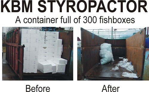 KBM Styropactor showing of reduction of 300 fishboxes